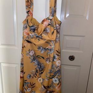 ASOS print tea length dress with drop straps